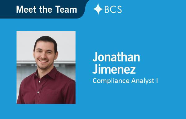Compliance Analyst I Jonathan Jimenez