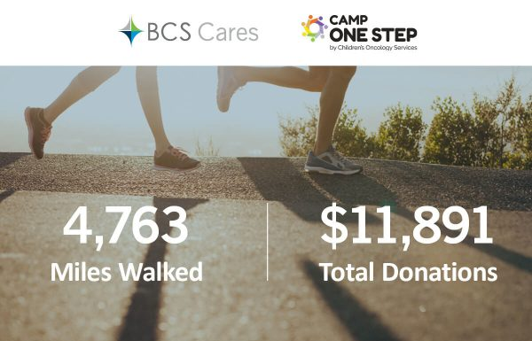 runners on pavement with miles walked and total donations